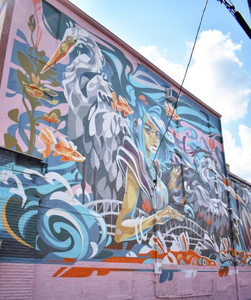 New mural on the Schmitt Furniture Store in downtown New Albany by Key Detail