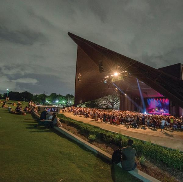 People At The Miller Outdoor Theatre In Houston TX