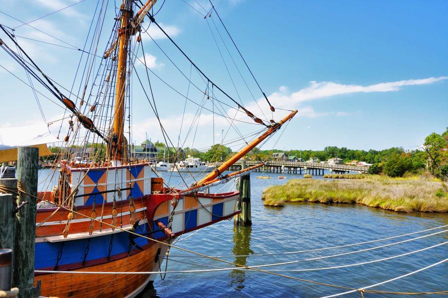 The Elizabeth II is a replica ship docked in Shallowbag Bay on Roanoke Island, North Carolina.