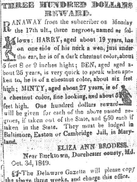 Advertisement for the reward of escaped slaves