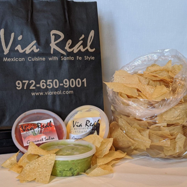Chips, salsa, and guacamole to go from Via Real in Irving, TX