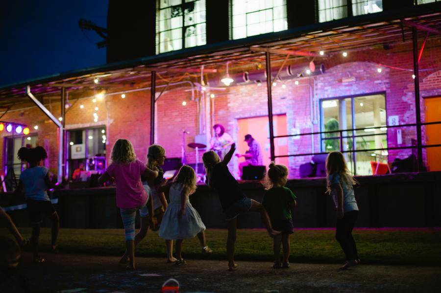 Kids Dancing at Lowe Mill Concerts on the Dock