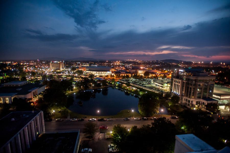 The sun sets over Big Spring Park in downtown Huntsville, Alabama.