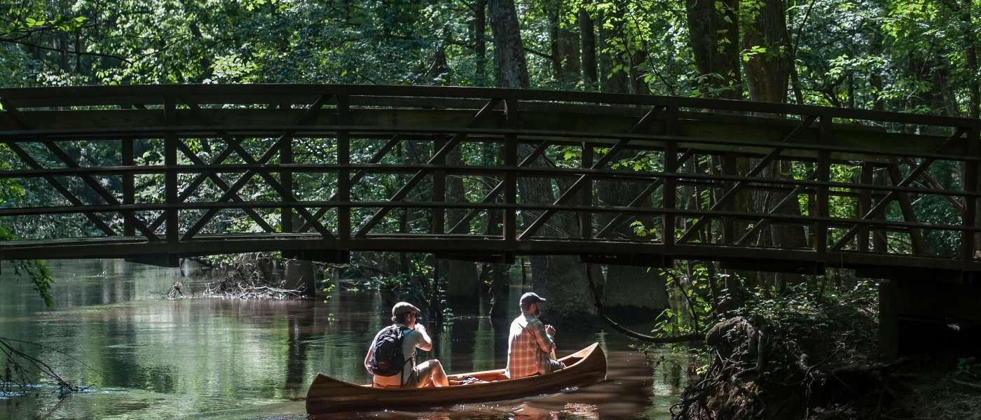 Kayaks-under-bridge
