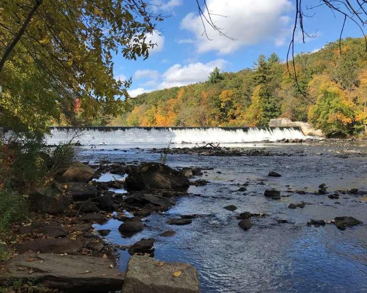 Fall foliage, waterfall, river, rocks.
