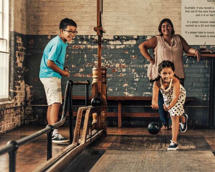 Family bowling at Breaktime Bowl & Bar, Pawtucket