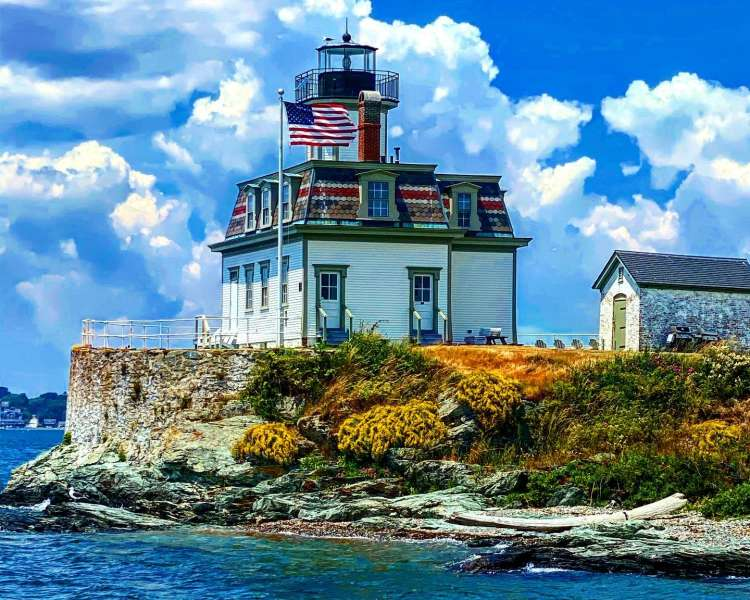 Rose Island Lighthouse in the Fall