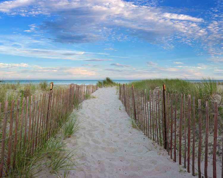 Sand Path Way at Scarborough Beach in Rhode Island