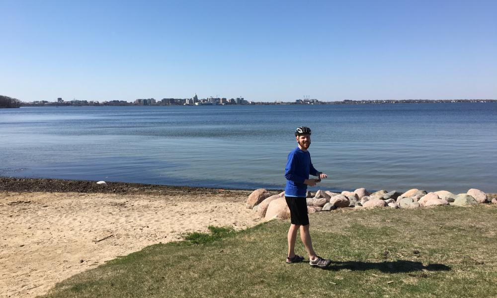 Taking a break from the bike path along the lakefront