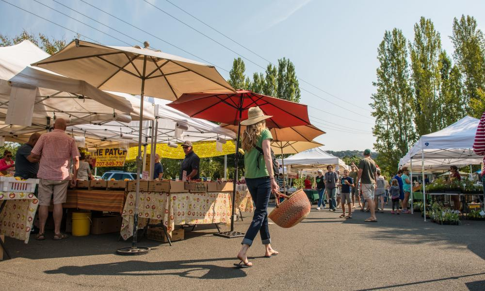 Woman walking past a stand at the farmers market