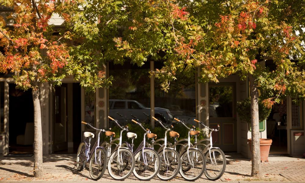 Bikes line the street in Napa Valley