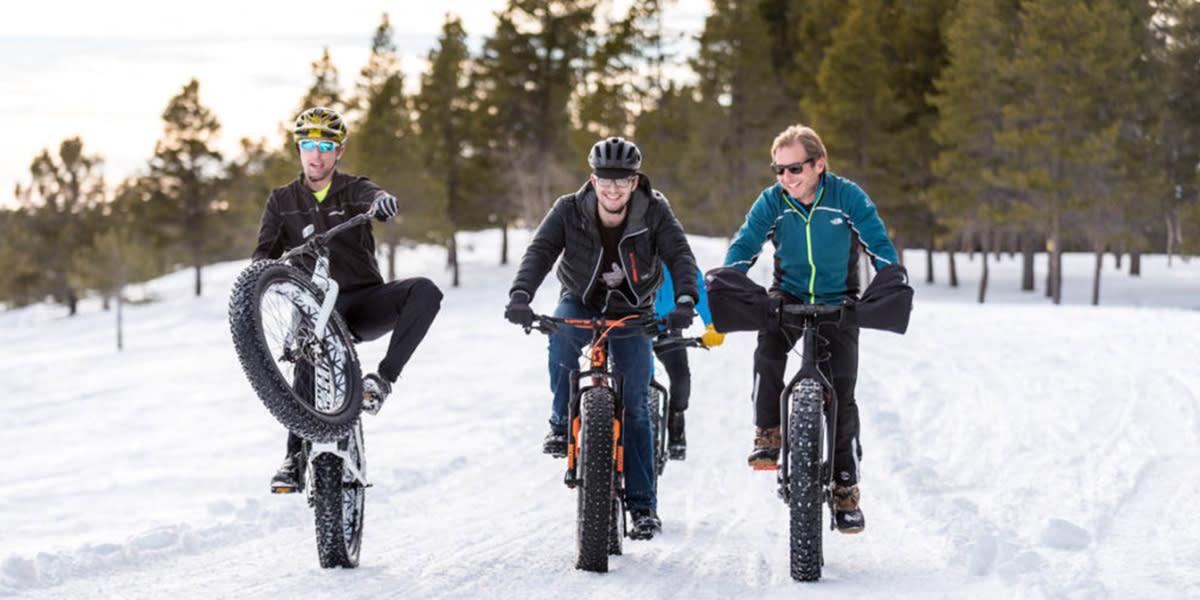 Fat biking on the snowy trails of Casper Mountain