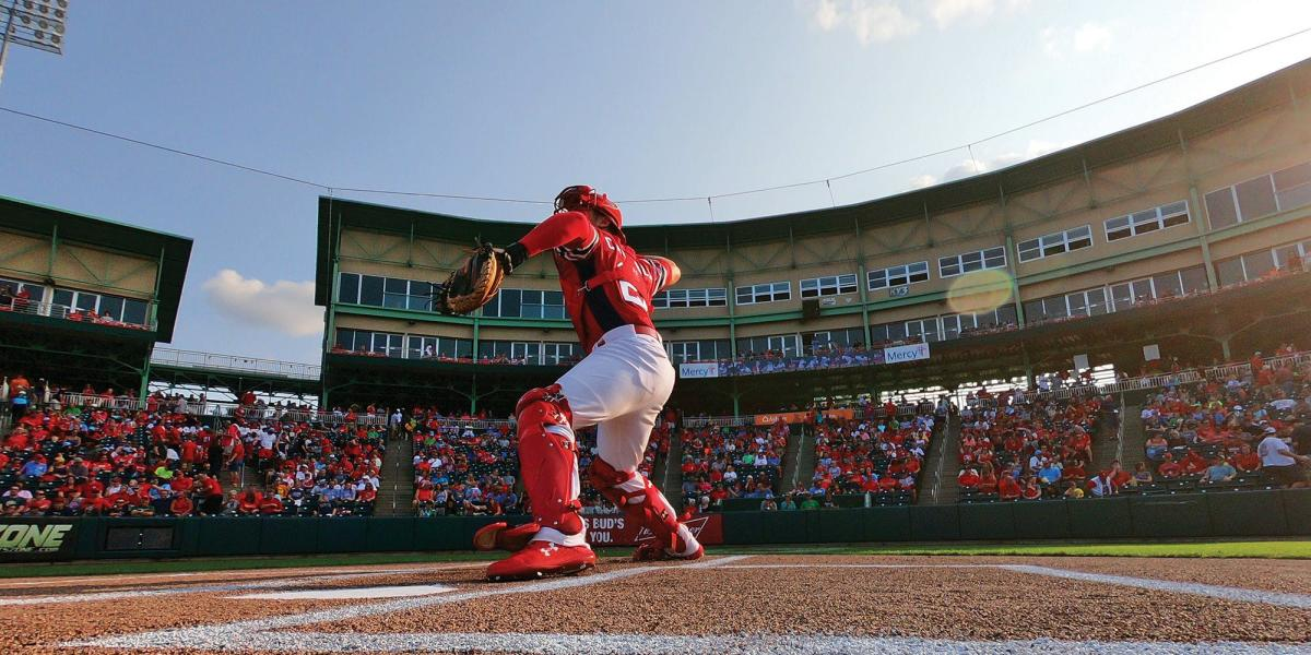 Catcher Warming Up Before Springfield Cardinals Game