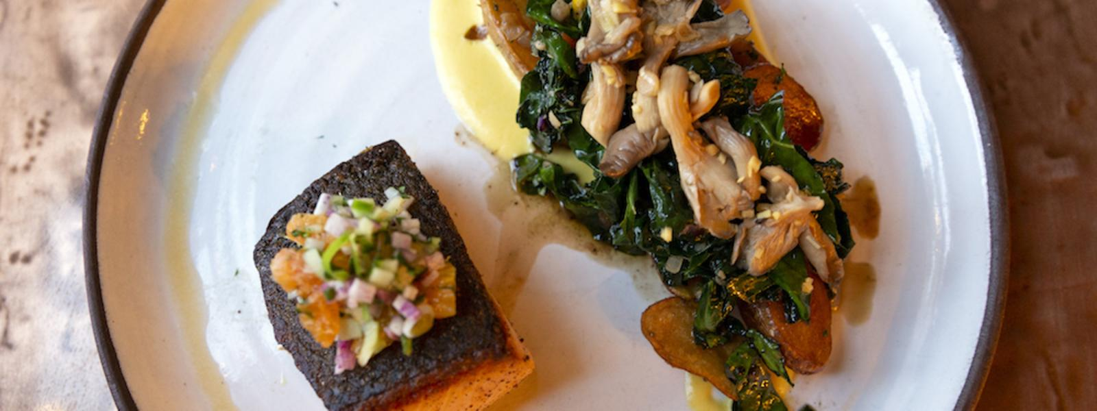 plate of salmon and kale