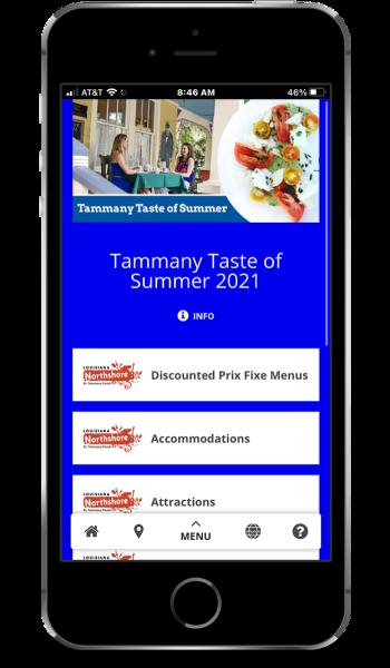 Screenshot of the Tammany Taste of Summer Savings Pass app