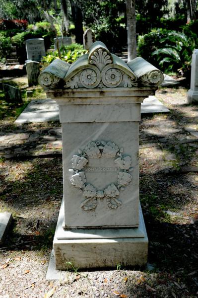 John Couper, owner of Cannon's Point Plantation, is buried at Christ Church Cemetery on St. Simons Island, GA. Photo by Troup Nightengale.