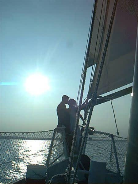 A wedding aboard the Liberte Schooner.