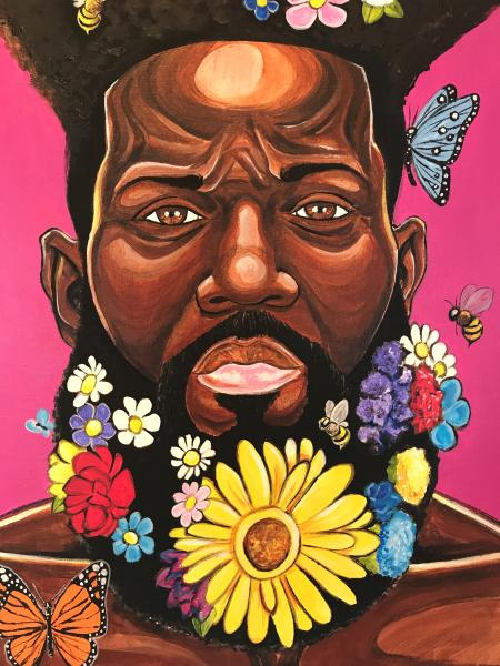 Male Black Portrait with Flowers.