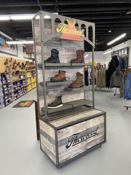Thorogood boots on display.