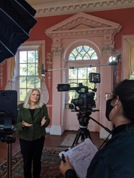 Filming inside Whitehall for the Annapolis Candlelight Tour.