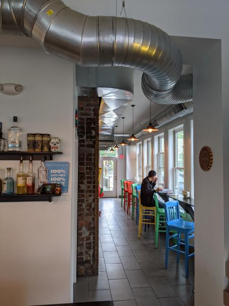 hallway and bar seating at olla covington ky