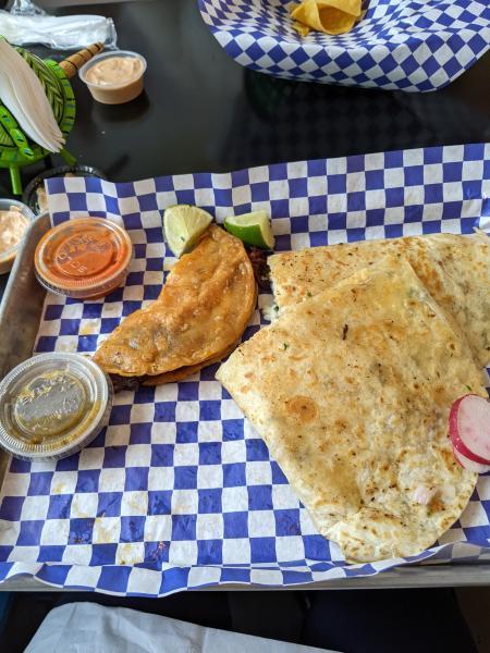 quesadilla and birria taco in covington ky at olla