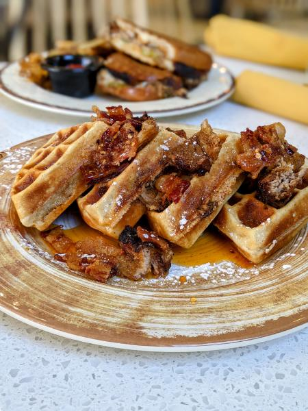 pork waffle at yuca by cedar in bellevue