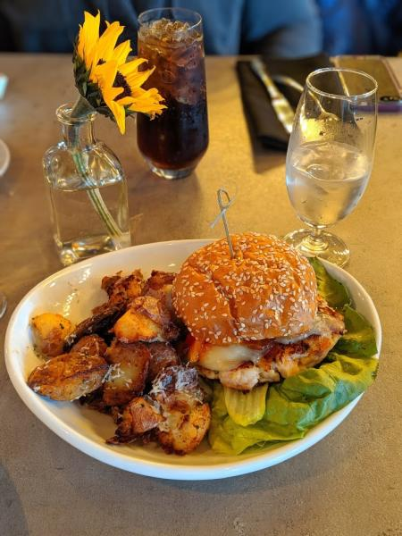 photo of a shrimp burger from repertoire in florence ky