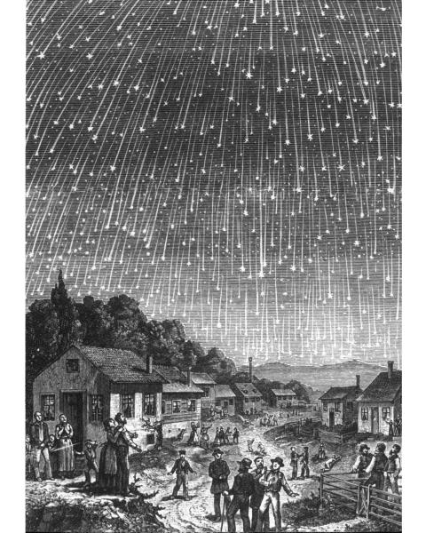 Wood Engraving By Adolf Vollmy c.1888 depicting the 1833 Lenoids meteor shower over America.