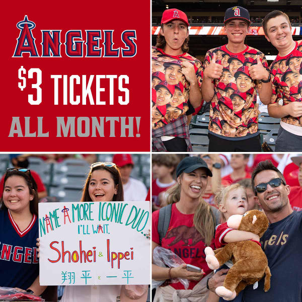 Four images compiled together into one collage. Each individual image features Angels fans cheering on the team.