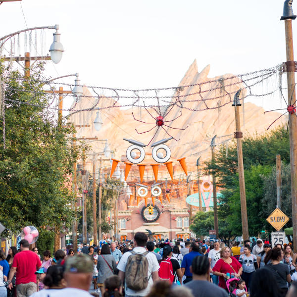 Image of Cars Land at Disney California Adventure decorated for Halloween Time.