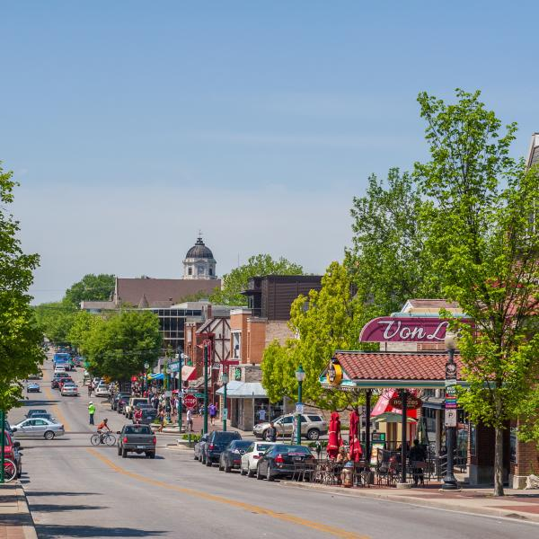 Downtown Bloomington view of Kirkwood Avenue in the spring
