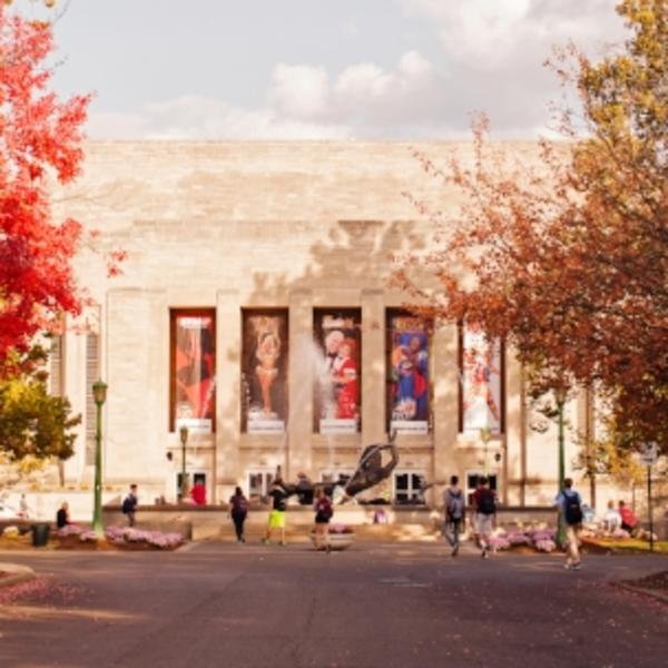 IU Auditorium with groups of people