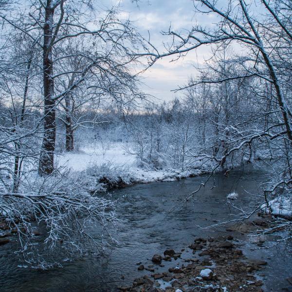 Clear Creek during winter in Bloomington, IN