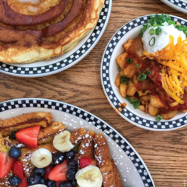 French toast, pancake and homefries breakfast plates from Village Deli