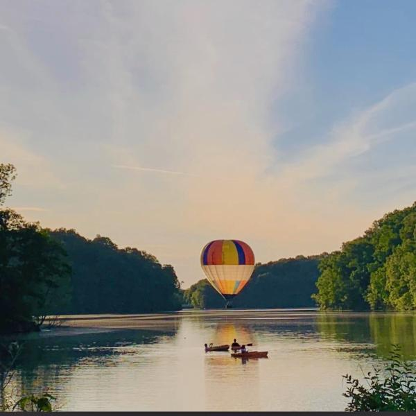 Hot Air Balloon over Lake Griffy