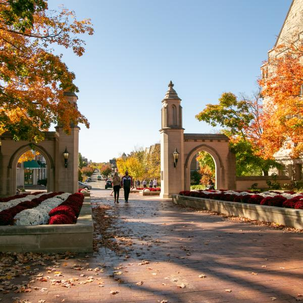 A couple holding hands while walking through Sample Gates
