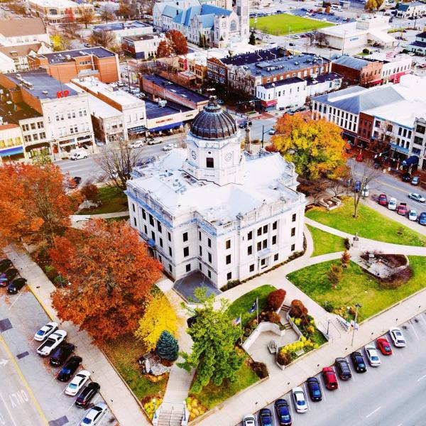 Aerial shot of The Square during fall