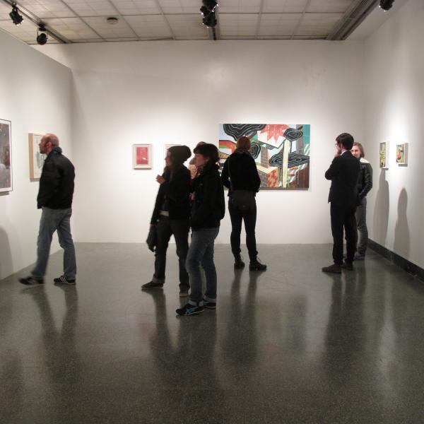 People Enjoying Art At Grunwald Gallery of Art In Bloomington, IN