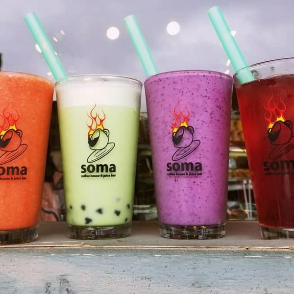 Smoothies, juices, and milk teas from Soma Coffeehouse & Juice Bar In Bloomington, IN
