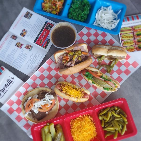 Various hot dogs and hoagies at Parnelli's