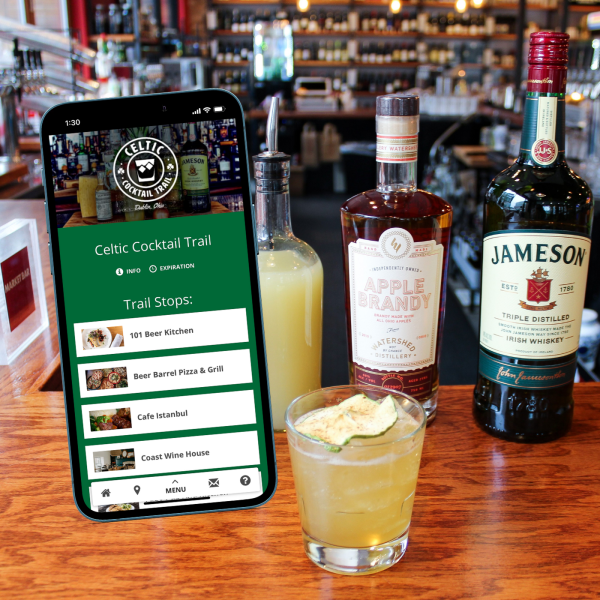 Celtic Cocktail Trail Digital Pass in front of a Celtic Cocktail
