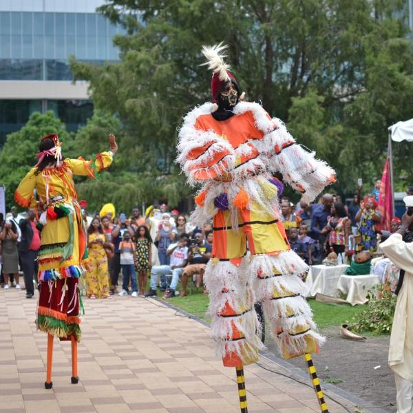 Man In Costume And Stilts At Igbo Fest In Houston, TX