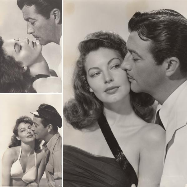 Collage of publicity images of Robert Taylor and Ava Gardner for The Bribe