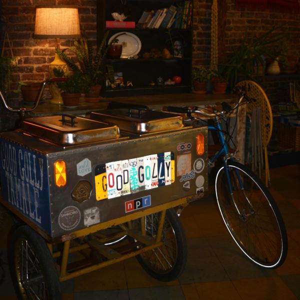 Good Golly serving station designed on a bike frame
