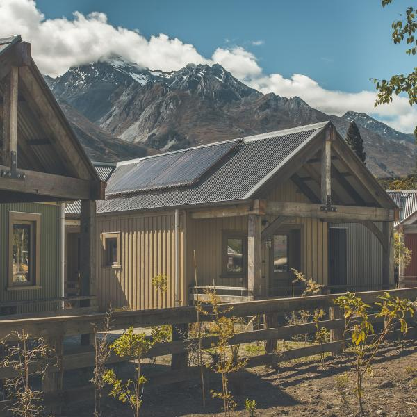 Camp Glenorchy's welcoming cabin exterior