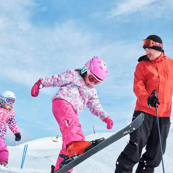 Family ski day at Coronet Peak