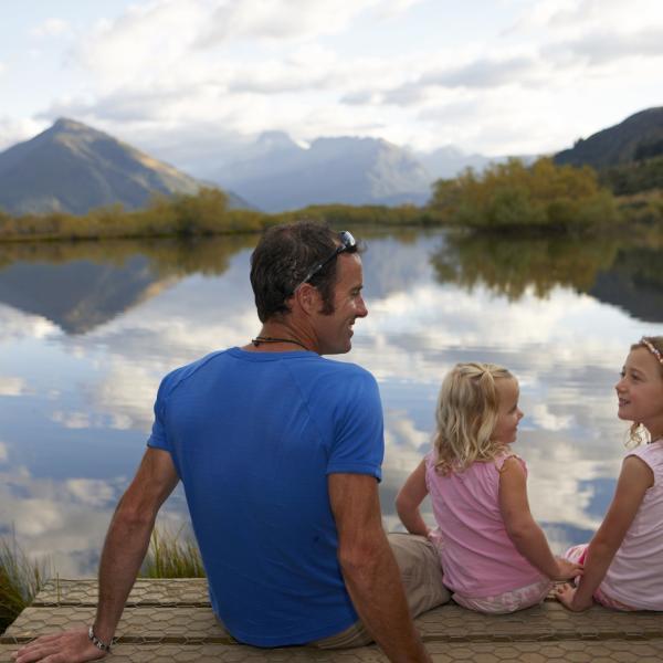 Family at Mirror Lake Glenorchy