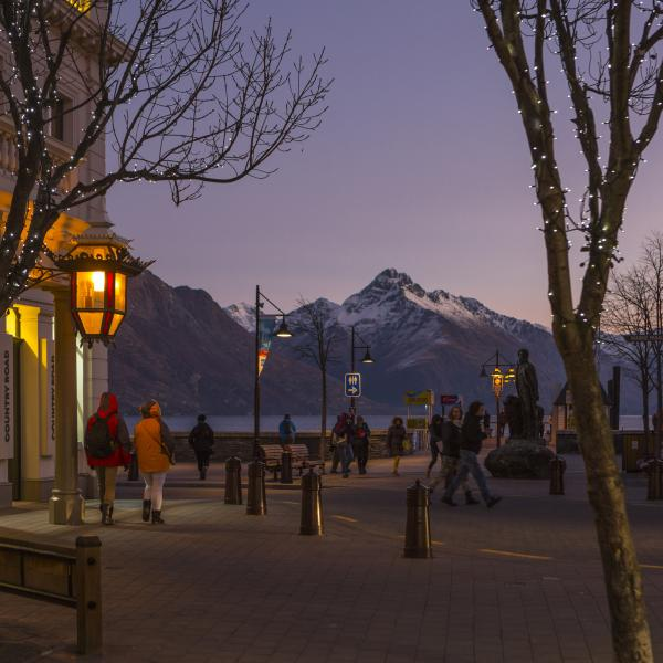 Queenstown town centre by night