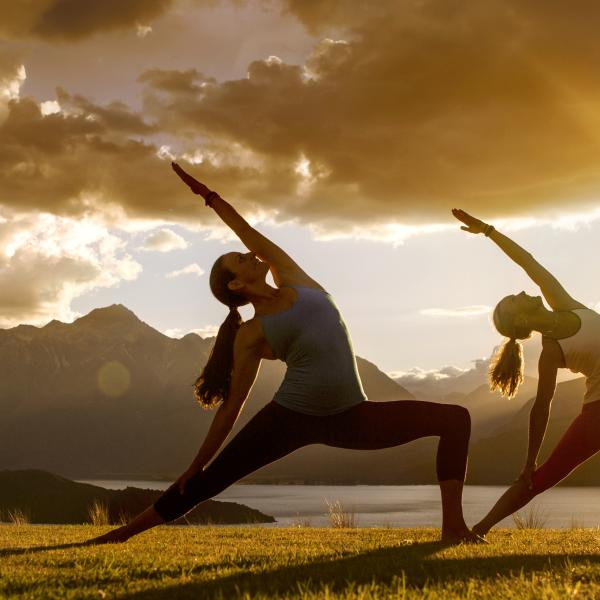 Yoga at sunset in Glenorchy